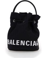 Balenciaga Wheel Drawstring Xs Bucket Bag - Black