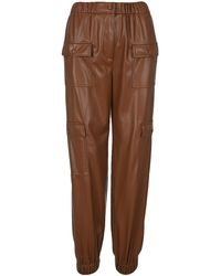 MSGM High-waisted Faux-leather Cargo Trousers - Brown