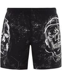 Alexander McQueen Skull Printed Swim Shorts - Black