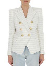 Balmain Double Breasted Tweed Blazer - White
