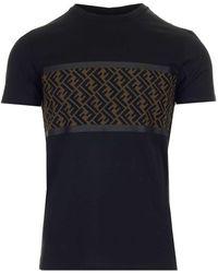 Fendi Ff Motif Panelled T-shirt - Black