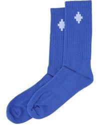 Marcelo Burlon Logo Ribbed Socks - Blue