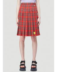 Marc Jacobs Heaven By Pleated Tartan Skirt - Red