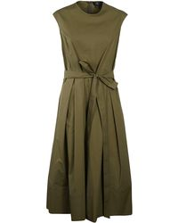 Fay Tie Belt Sleeveless Midi Dress - Green