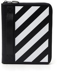 Off-White c/o Virgil Abloh Diagonal Striped Clutch Bag - Black