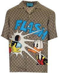 Gucci X Disney Donald Duck Print Bowling Shirt - Multicolour