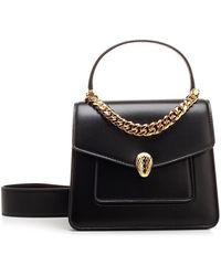 BVLGARI Serpenti Forever Small Top-handle Bag - Black