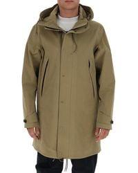 C.P. Company High-neck Hooded Parka Coat - Natural