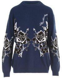 Love Moschino Floral Intarsia Jumper - Blue