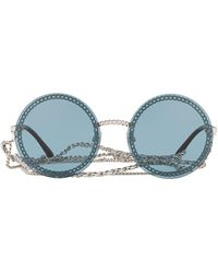 Chanel Round Frame Chain Sunglasses - Blue