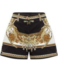 Versace Printed Denim Shorts - Multicolor