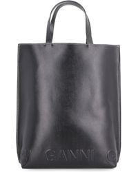 Ganni Banner Medium Tote Bag - Black