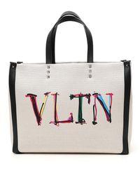 Valentino Garavani Vltn Graph Medium Tote Bag - Natural