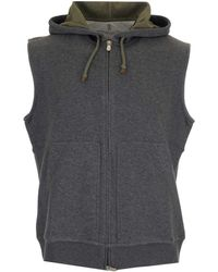 Brunello Cucinelli Hooded Vest - Grey