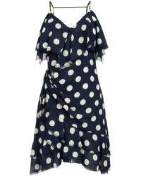 Balmain Polka-dot Draped Dress - Blue