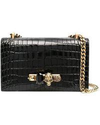 Alexander McQueen Jewelled Satchel Shoulder Bag - Black