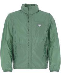 Prada Detachable Sleeve Zipped Jacket - Green