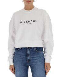 Givenchy Logo Printed Cropped Sweatshirt - White