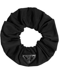 Prada Logo Embellished Scrunchie - Black
