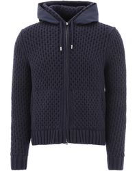 Herno Drawstring Zipped Knit Hoodie - Blue