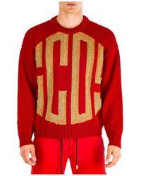 Gcds Men's Crew Neck Neckline Sweater Sweater Pullover - Red