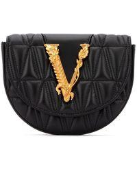 Versace Logo Quilted Belt Bag - Black