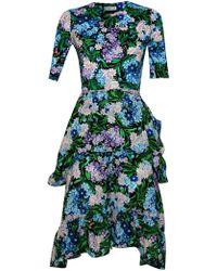 Balenciaga - Floral Peplum Dress - Lyst