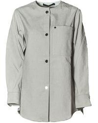Sofie D'Hoore Ribbed Collarless Shirt - Grey