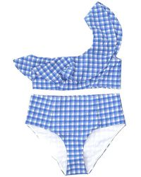 Ganni Check Two-piece Swimsuit - Blue