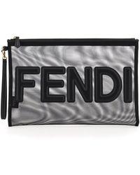 Fendi Micro Mesh Large Pouch Script - Black