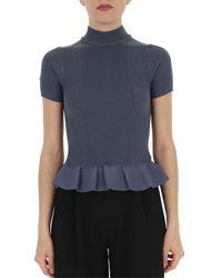 Alexander Wang Cropped Peplum T-shirt - Blue