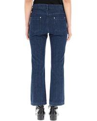 RED Valentino Redvalentino Herringbone Printed Cropped Jeans - Blue