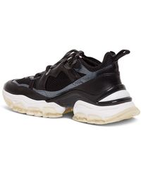 Moncler Sneakers In Black Leather And Mesh - White