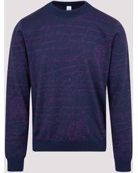 Berluti Logo Knitted Sweater - Blue
