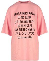 Balenciaga Multi Language Logo Print T-shirt - Pink