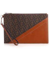 Fendi Ff Motif Paneled Clutch Bag - Brown