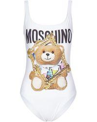 Moschino Teddy Print Swimsuit - White