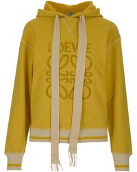Loewe Anagram Embroidered Hoodie - Yellow