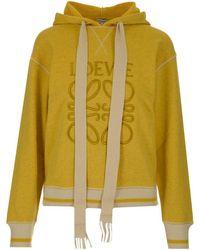 Loewe Anagram Embroidered Hoodie - Yellow