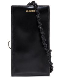 Jil Sander Tangle Black Leather Crossbody Bag For Smartphone