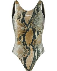 MSGM Logo One-piece Swimsuit - Brown