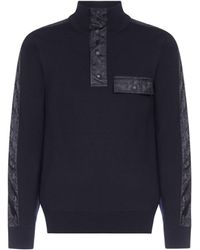 Dior Oblique Insert High Collar Sweater - Blue