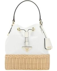 Prada Two-tone Logo Plaque Bucket Bag - White