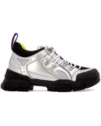 Gucci - Flashtrek Metallic Leather And Mesh Sneakers - Lyst