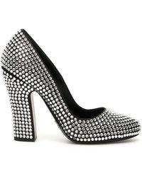 Prada Crystal Satin Court Shoes - Black