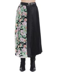 Junya Watanabe Pleated Floral Patchwork Skirt - Black
