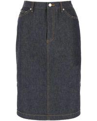 A.P.C. Mai Pleated Denim Skirt - Blue