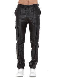 KENZO Leather Cargo Pants - Black