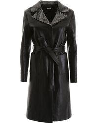 Miu Miu Leather Coat With Crystals - Black