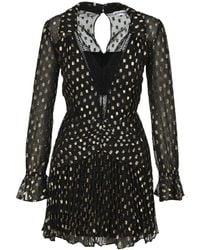Self-Portrait Polka-dot Pleated Dress - Black